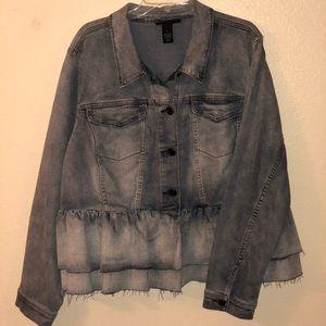 Lane Bryant Denim Ruffle Jacket Size 24